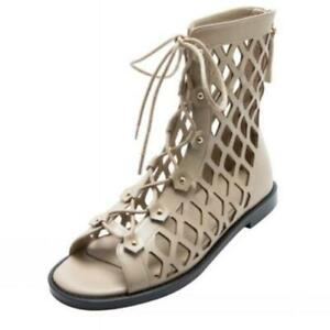 Women Summer Gladiator Sandals Open Toe Lace Up Flats 2cm Heeled Pumps Shoes L