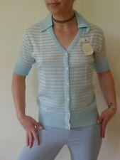 Vintage retro 60s unused knit NWT cardigan tags blue white stripes short sleeves