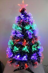 "2"" Pre-Lit Artifiical Christmas Tree Fiber Optic w/Multicolor LED Lights & Stand"