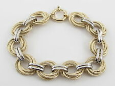 """14K Yellow And White Gold Braided Rolo Link Toggle clasp Bracelet 8"""" 14 grams"""