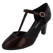 Ladies Anne Michelle T-bar Smart Shoes F9951 Burgundy Crinkle Patent 6 UK Standard