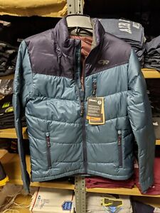 *Men's Outdoor Research Transcendent Down Jacket NWT MED $199 Prussian Blue/ Ink