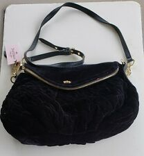 Vintage Juicy Couture Black Velour Quilted Purse Crossbody NOS Hot Pink Lining!!