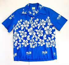 Ui Maikai Vtg Mens Bright Blue White Hawaiian Floral Shirt Hibiscus Size Large