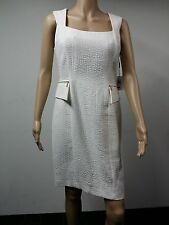NEW - Calvin Klein - Sleeveless Pebble Textured Ivory Dress Size 12 - White $119