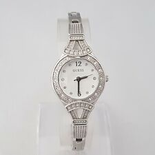 GUESS LADIES COCKTAIL QUARTZ WATCH SILVER DIAL CRYSTALS STAINLESS STEEL GENUINE
