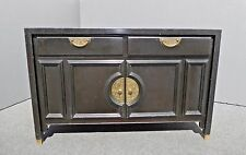 Vintage Oriental Style Black CREDENZA w Gold Metal Hardware by CENTURY FURN CO.