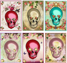 Coloured Skulls Glossy Finish Card Making Toppers - Crafts Embellishment