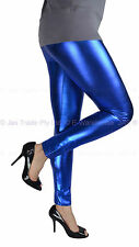 Footless Bright  80s 70s Disco STRETCH Pant Metallic Liquid Legging Pants