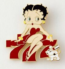 BETTY BOOP LUCKY 777 WITH DOG PUDGY BROOCH