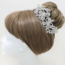 Crystal Silver Rhinestone Flower Hair Comb
