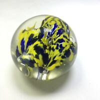 Hand Blown Glass Art Glass Paperweight Yellow Blue