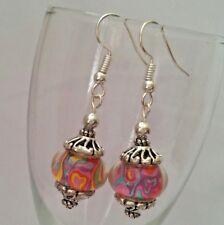 Multicolor Lampwork Beads Silver Hook Dangle Drop Earrings