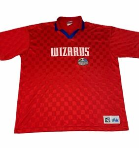 Kansas City Wizards MLS Majestic Mens Jersey Red Geometric Short Sleeve 2XL