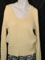 Women's Casual Corner Yellow Cable Knit Sweater Size Large Cotton Long Sleeve