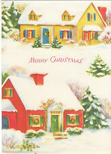 Vintage Christmas Card Cozy Cottages in Snow 1940s Red and Yellow Houses