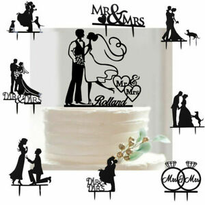 Romantic Heart Wedding Acrylic Bride Groom Cake Topper Silhouette Decor Black
