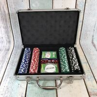 Poker Chip Set Aluminium Case / 2 Decks Playing Cards / 5 Dice - Chips SEALED