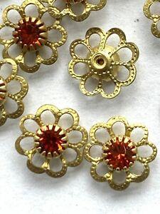 T037 - 50 Set w/Swarovski Stones - Indian Red Filigree Flower Components Inserts