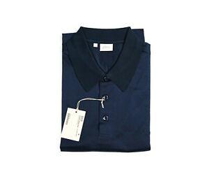 NEW  BRIONI Polo LOGO Short Sleeve Cotton Size L Us Eu 52 (ZIP19)