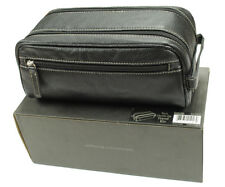 NEW MEN'S STORE BLOOMINGDALE'S BLACK LEATHER DOUBLE ZIP TOILETRY TRAVEL KIT $68