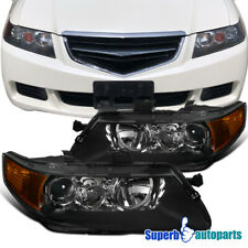 For 2004-2005 Acura TSX Sedan 4Dr Projector Headlights Head Lamps Black
