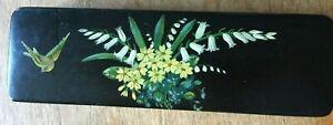 Antique Victorian flower painted papier-mache glove or fan box 30cm wide