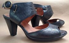 Indigo by Clarks Black Leather Crocodile Embossed High Heel Sandals Size 11 M