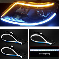 2X 60cm Flowing Tube Headlight Car LED Strip White DRL Yellow Turn Signal Light
