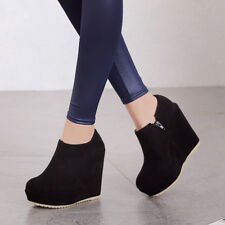 Womens Platform Wedge High Heels Side Zip High Top Shoes Round Toe Ankle Boots
