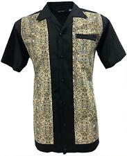 Rockabilly Fashions Men's Shirt Retro Vintage Bowling 1950 1960 Snakeskin Print