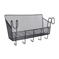 Dormitory Bedside Storage Baskets with Hooks Mesh Origanizer Caddy Shelves