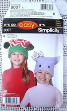 8007 SEWING PATTERN~UNC~BOYS&GIRLS LINED HAT in 3 SZs:ANIMAL HATS
