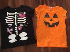 2 girls HALLOWEEN SHIRTS LOT S/S cotton pumpkin SKELETON costume CUTE! size 6 6X