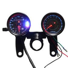 Universal Black Motorcycle LED Backlight Odometer & Tachometer Speedometer Gauge