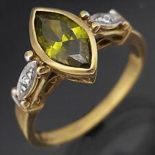 Marquise Cut GREEN CUBIC ZIRCONIA 9k Solid Yellow GOLD Right Hand RING Sz P