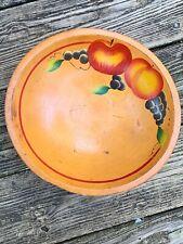 Antique Primitive DOUGH BOWL with 3 Legs FRUIT Apple Grapes Peach RARE 4/11 ❤️m9