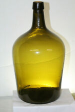 Early Nice Color Olive Amber Green Demijohn 14'' tall