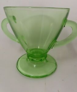 """VTG Depression Uranium Glass Sugar Bowl 3.5"""" Footed Double Handle Clear"""