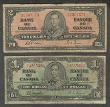 1937 $2.00 & $1.00 VG King George VI GORDON Bank of Canada OLD One & Two Dollars