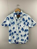 Brooklyn Cloth Mfg. Co Vintage Men's Short Sleeve Shirt - Size Large -White Blue