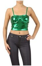 NEW METALLIC SHINEY LIQUID CORSET CROP BRA TOP CLUB DANCE HOLLOWEEN