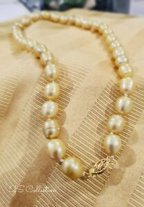 16 INCH HUGE 10-11MM NATURAL SOUTH SEA BAROQUE  GOLDEN PEARL NECKLACE 14K .
