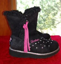 Skechers Girls' Twinkle Toes Glamslam Sparkle Spell Boot Winter Black Sz 11