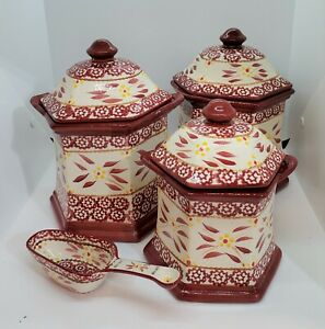 3 Temp-tations Old World Cranberry Red Canisters:  1.8 and .9 QT, Floral Lace +