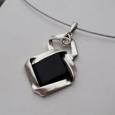 Drahtreif Drahtring Anhänger 5,5 cm Glasstein schwarz Strass-Stein klar *NEU*
