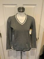 Title Nine Blue & White Striped V-Neck Sweater, Size M