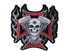 "Iron Cross Skull V2 Biker Chopper Outlaw Motorcycles MC Outlaw Biker Patch 4x4"""