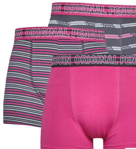 Original Penguin Mens 3 Pack AOP Stripe Boxer Shorts Pink All Sizes S M L new