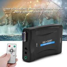 VGA to SCART Video Audio Converter Adapter 1080P HD TV DVD W/ USB DC Power Cable